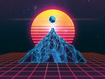Overdrive Mountain signalnoise gunship album illustrator photoshop outrun vaporwave synthwave retrowave 1980s retro illustration design art