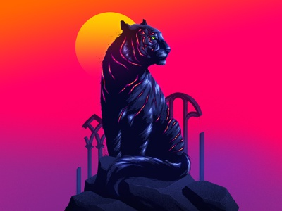 Spirit Animal signalnoise illustrator photoshop outrun vaporwave retrowave synthwave 1980s retro illustration design art