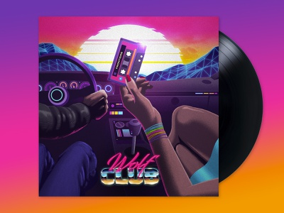 Wolf Club: Frontiers album photoshop illustrator signalnoise outrun vaporwave synthwave retrowave 1980s retro illustration design art