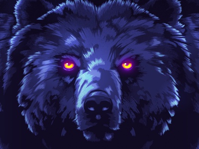 Phantom Grizzly signalnoise photoshop outrun vaporwave synthwave retrowave 1980s retro illustration design art