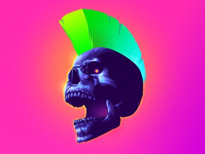 Screamer signalnoise punk skull photoshop outrun vaporwave synthwave retrowave 1980s retro illustration design art