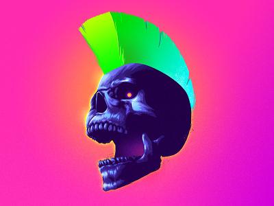 Screamer signalnoise punk skull photoshop outrun vaporwave synthwave retrowave 1980s retro illustration design art