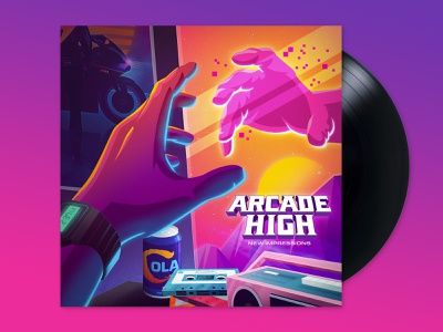 Arcade High: New Impressions signalnoise album photoshop illustrator outrun vaporwave synthwave retrowave 1980s retro illustration design art