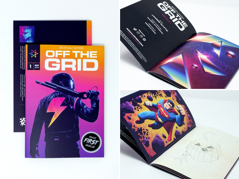 OFF THE GRID art zine signalnoise outrun publication zine photoshop illustrator vaporwave synthwave retrowave 1980s retro illustration design art