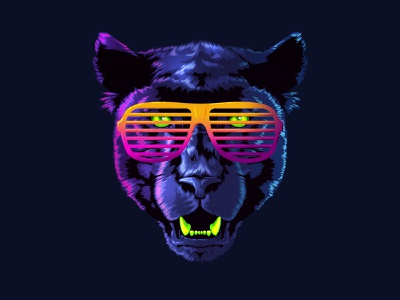 Cool Panther signalnoise panther photoshop outrun vaporwave retrowave synthwave 1980s retro illustration design art
