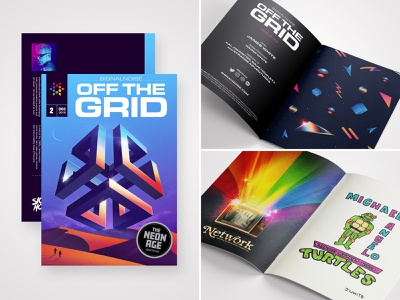OFF THE GRID 2 art zine publication book zine signalnoise outrun vaporwave retrowave synthwave 1980s retro illustration design art