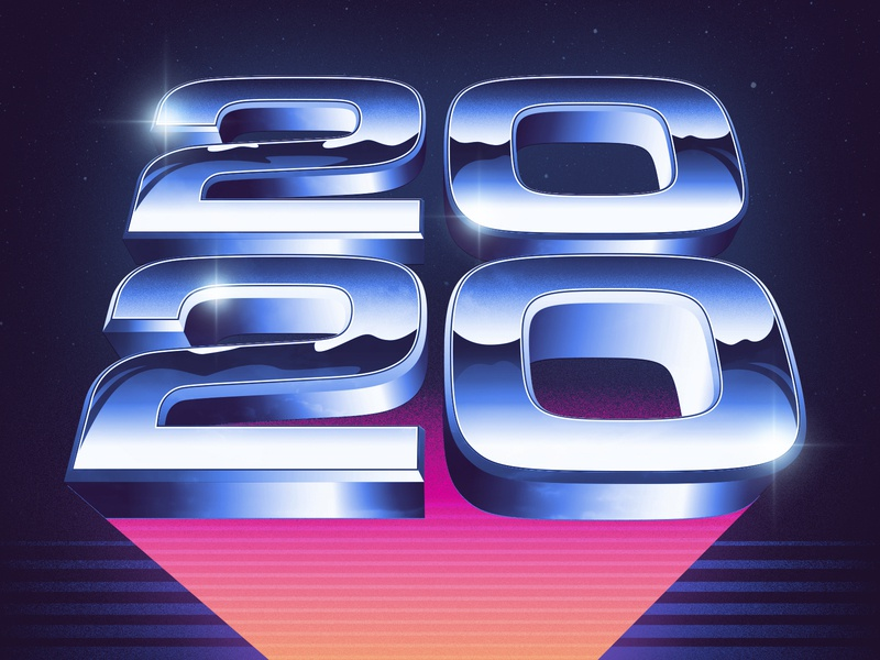 Welcome to 2020 typography photoshop illustrator vector signalnoise outrun vaporwave synthwave retrowave 1980s retro illustration design art