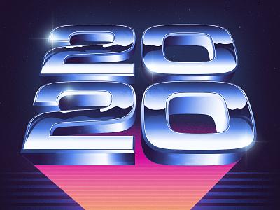 Welcome to 2020 typography photoshop illustrator vector signalnoise outrun vaporwave synthwave retrowave 1980s retro illustration design art
