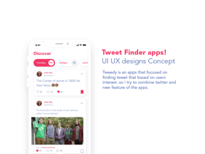 Tweet Finder Apps UIUX designs concept