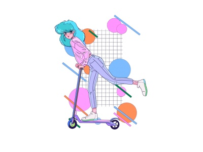 Scooter girl illustration procreate manga newretro retroanime anime animeart 80s style 80sanime 80s