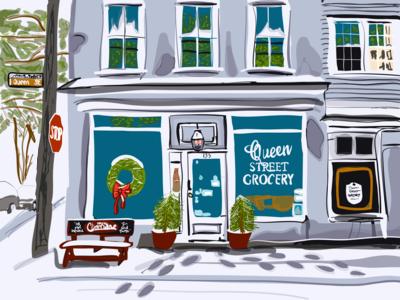 Dusting On Queen Street - Charleston, SC illustration