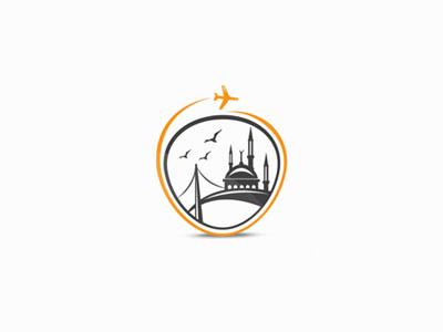 ISTANBUL istanbul turkey logo travel emblem fly mosque bridge black orange flat city