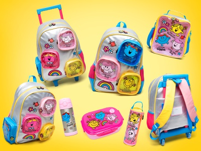 Mr. Men Little Miss Plastic Fantastic Backpack Set products product design product hargreaves mixed material material colorblocking colorblock sanrio little miss mr. men metallic branding kids design fashion character children back to school backpack