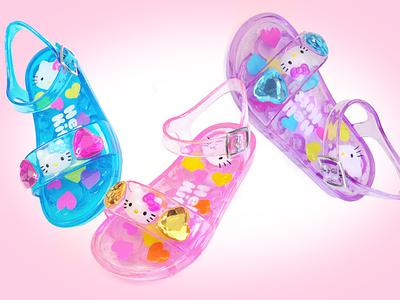 Hello Kitty Jelly Sandals footwear design footwear product design product cute heart gemstone summer jewel gem plastic sandal jelly hello kitty children fashion sanrio kids character design