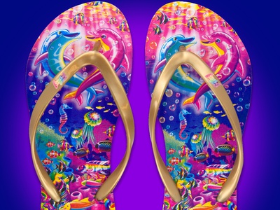 Lisa Frank Flip Flops shoe shoe design flip flops retro 80s 90s licensed character licensing apparel colorful color bright footwear product design product fashion design