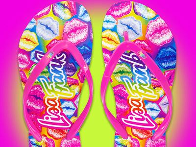 Lisa Frank Flip Flop throwback colorful color shoe design shoe flip flops retro 80s 90s bright kiss print footwear design footwear fashion character product design product design