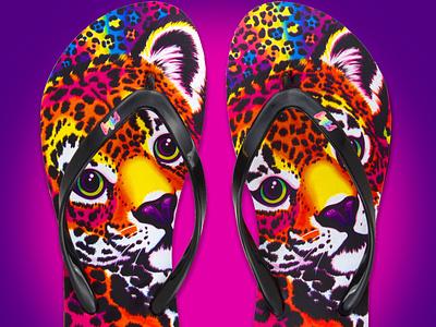 Lisa Frank Flip Flop footwear design shoe design retro throwback colorful rainbow leopard print leopard footwear character 90s 80s fashion design product design product