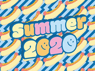 Hotdog Summer 2020 typography colorful fun pattern design pattern hotdog summer