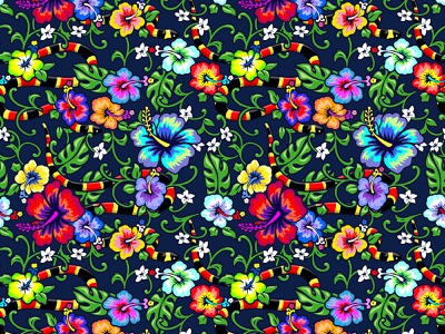 Hibiscus Snakes maximalism illustrator vector illustration reptile snake tropical repeat pattern design colorful repeat floral hibiscus