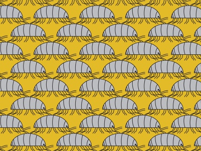 Pillbug Pattern gray grey mustard 70s simplification cubism armor simple shapes crustacean insect pattern design repeat pattern allover print vector colorful