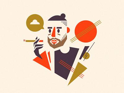 Self-portrait selfy man cigarette character suprematism shapes portrait self illustration