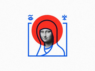 Style icon smile square print icon vinci da leonardo lisa mona line minimalism illustration