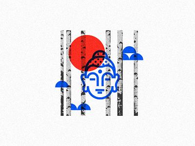 Horizon mind calm square print icon birch buddha line minimalism illustration