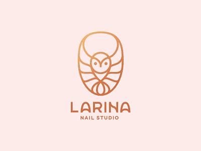 Larina - nail studio master beauty pedicure manicure gold line logo studio nail owl