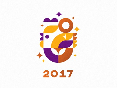 Le coq sparks shapes minimalism form logo year new happy 2017 chicken rooster cock
