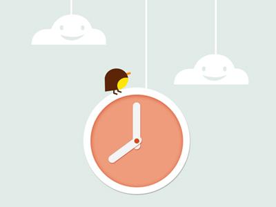 Cute.....clock cute flat cloud clock bird illustration