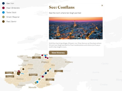 Cruise Map France - PopUp information design javascript web design planner trip planner traveling travel app trip tourism mapbox ui dataviz maps interactive map illustration geographic data visualization data mining chart data analysis