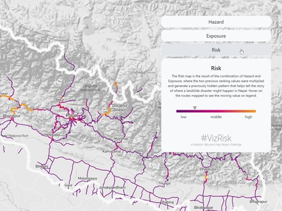 VizRisk Nepal Landslides - Zoom data viz app design infographic javascript html geography colors big data open data app storytelling data visualisation geographic data visualization chart interactive map dataviz data mining maps data analysis