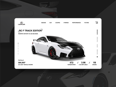 LEXUS RC F TRACK EDITION - Landing Page ux landing page design landing page website design web design web user experience user interface design user interface ui  ux ui design ui