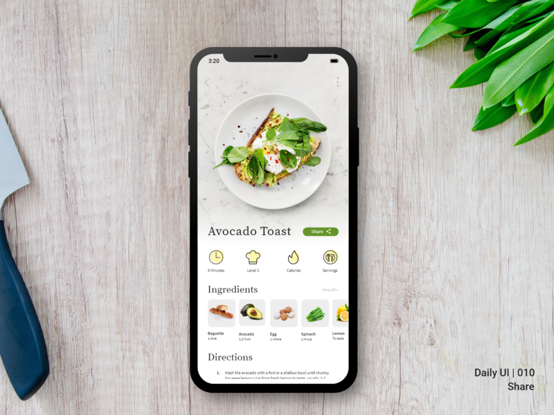 Daily UI Challenge #010 - Share wireframe mockup share button concept ios 010 dailyui ux design recipe app mobile cooking