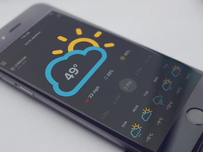 weather app iphone app weather flat ui ux interface cool clean climacons flat design