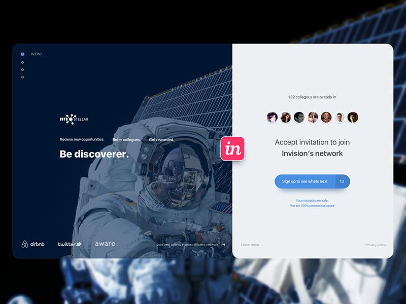 Onboarding page interstellar join invitation onboarding invite