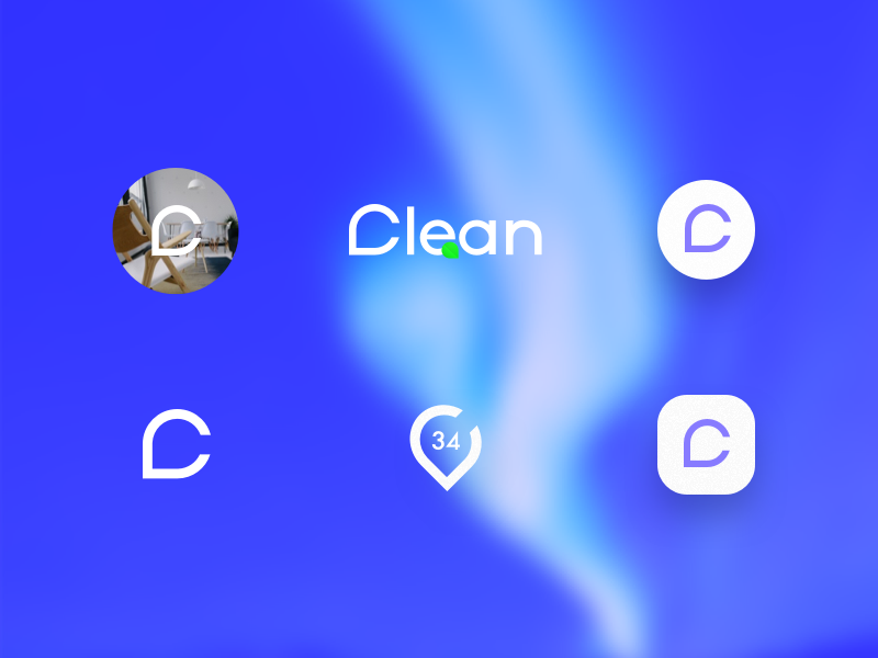 Clean logo eco clean icon app cleaning logo branding