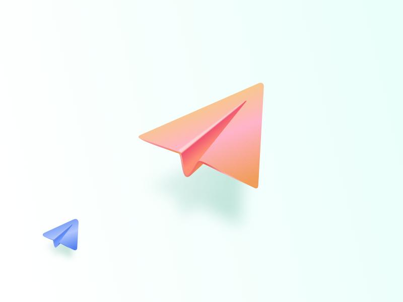 <3 telegram paper planes icon planes light colorful 3d skeuo telegram paper plane