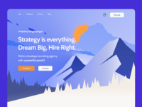 homepage for recruiting agency with mountains