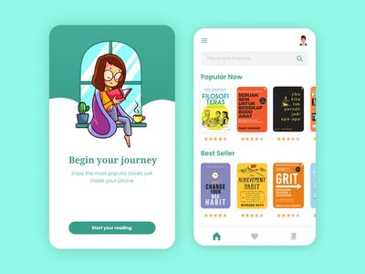 E-book app UI design landing app illustration mobile design mobile app mobile ui mobile kindle e-book ebook e-books books book ui design uiux ui