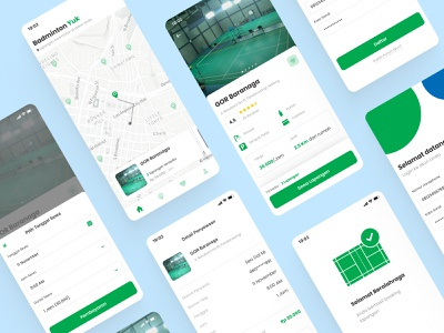 Badminton Booking Court App - Mobile Design case studies casestudy case study rental app illustration uxdesign ux app uiux ui mobile app design mobile design mobile app mobile ui mobile courts booking court booking app