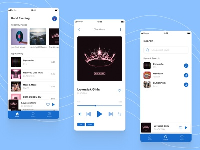 Music App Exploration - Mobile Design design podcast lyrics music application music app design music player blue uidesigner uidesigns ui design uidesign uiux ui music app ui music app music