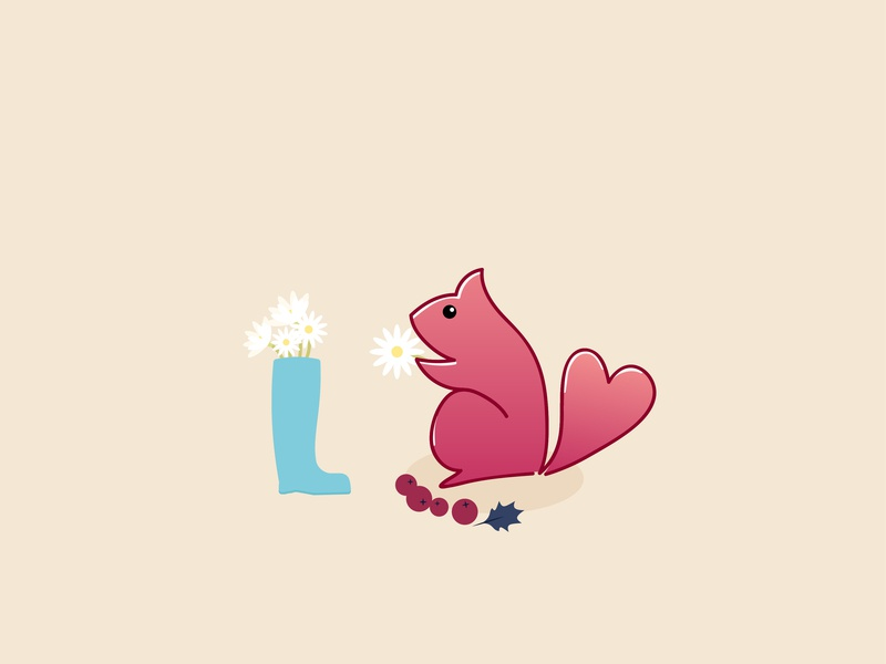 Day11- squirrel who likes flowers illustration 100 days challenge illustrator