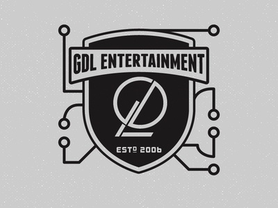 GDL Shield shield crest logo circuits type team gdl identity