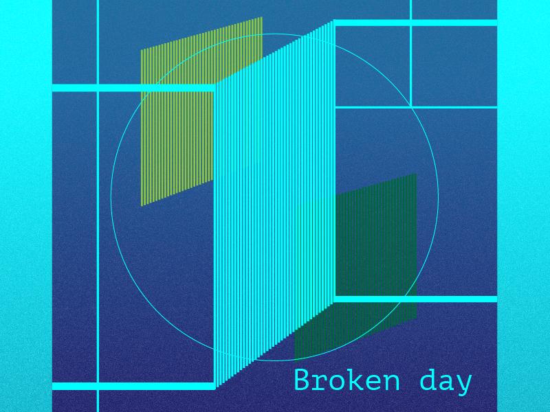 Broken day cosmic colourful broken square circles shapes geometry geometric illustration geometric design vector illustration design