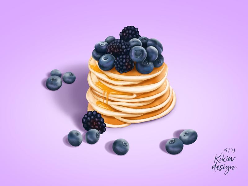 Friday Food! Blueberries pancakes 😍😍😍🥰🥰🥰 painting. weekend valentine blue brown yellow honey gold purple breakfast food illustrations procreate pancakes blueberry blackberry blueberries