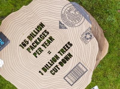 cardboard stump exhibition mock-up design