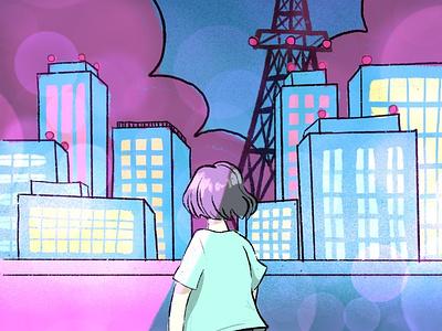 Citypop illustration student project procreate illustration citypop