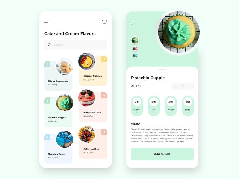 Dessert app Design designer desserts delivery app add to cart card design cards ui ux design uiux ui design mobile app design mobile design mobile app ui branding food app mobile ui design