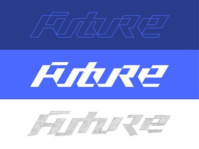 Future type handlettering blue future typography custom type lettering logotype